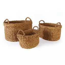 Seagrass Oval Baskets With Handles & Cuffs, Set Of 3   Scout & Nimble