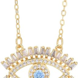 MLENS 18K Gold Plated Zirconia Evil Eye Necklace Dainty Chain Adjustable Pendant Necklaces for Wo... | Amazon (US)