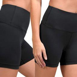 90 Degree By Reflex High Waist Power Flex Yoga Shorts - Tummy Control Biker Shorts for Women 2 Pa... | Amazon (US)