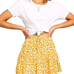 Relipop Women's Floral Flared Short Skirt Polka Dot Pleated Mini Skater Skirt with Drawstring | Amazon (US)