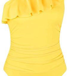 Hilor Women's One Piece Swimsuits One Shoulder Swimwear Asymmetric Ruffle Monokinis Bathing Suits | Amazon (US)