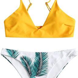 ZAFUL Women's Leaf Print Bathing Suits Adjustable Straps Bikini Set | Amazon (US)