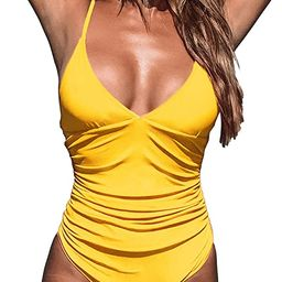 CUPSHE Women's One Piece Swimsuit Tummy Control V Neck Two Piece Bathing Suits | Amazon (US)