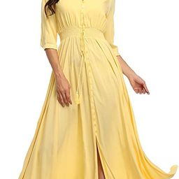 Summer Floral Print Maxi Dress Women Button Up Split Long Flowy Bohemian Beach Party Dresses | Amazon (US)