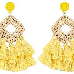 WFYOU Rattan Tassel Earrings for Women Bohemian Statement Handmade Woven Drop Dangle Earrings | Amazon (US)