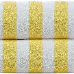 Towel Bazaar 100% Turkish Cotton Cabana Striped Pool/Beach 30'' by 60'' Large Towels (Yellow) | Amazon (US)