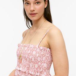 Smocked cotton poplin dress in rose vines   J.Crew US