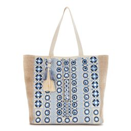 Twig & Arrow Embroidered Mirror Tote Bag with Tassel Accent and Interior Zip Pocket | Walmart (US)