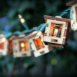 Patio String Lights. Electrolites - Craftsman Style Bungalows. DIY Unique wooden 3D lighting. Caf...   Etsy (US)