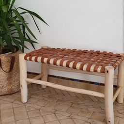 Moroccan bench made of solid wood and camel leather 75cm / 98cm   Etsy (US)