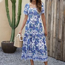 Paisley And Floral Print Square Neck A-line Dress | SHEIN