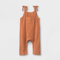 Grayson Mini Baby Girls' Bow Strap Front Pocket Romper - Orange | Target