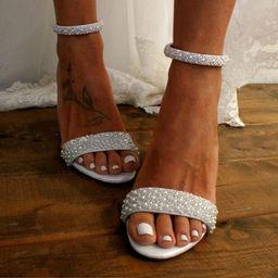 Block heel wedding white leather sandal/ Handmade white leather heels/ Bridal shoes/ Pearl weddin... | Etsy (CAD)
