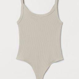 Ribbed Jersey Thong Bodysuit   H&M (US)