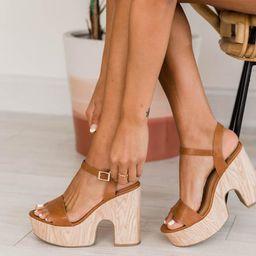 Bridget Tan Wood Block Heel   The Pink Lily Boutique