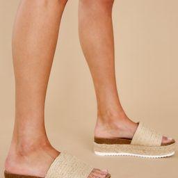 My Day Off Beige Flatform Sandals | Red Dress