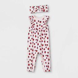 Baby Girls' Strawberry Romper with Headband - Cat & Jack™ Light Pink | Target