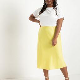 Satin Midi Skirt - Yellow Cream   Eloquii