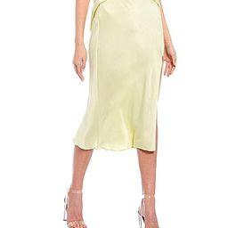 GB Coordinating Side Slit Satin Midi Skirt - S   Dillards