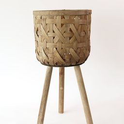 """Woven Basket Plant Stand - 21.5"""" Tall 
