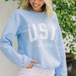 Est. 1776 Baby Blue Graphic Sweatshirt   The Mint Julep Boutique