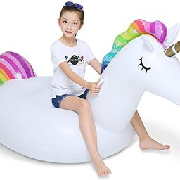 Jasonwell Big Inflatable Unicorn Pool Float Floatie Ride On with Fast Valves Large Rideable Blow ...   Amazon (US)