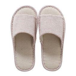 Men/Women Linen Weave Comfortable Simple Indoor Floor Bedroom Home Slippers Shoes | Walmart (US)