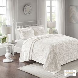 Home Essence Amber 3 Piece Tufted Cotton Chenille Bedspread Set, Full/Queen, White | Walmart (US)