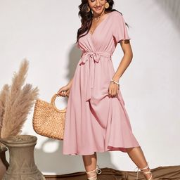 Flutter Sleeve Belted Dress   SHEIN