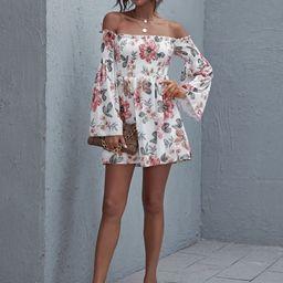 Off Shoulder Frill Trim Shirred Floral Dress   SHEIN