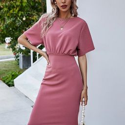 Solid Fitted Dress   SHEIN