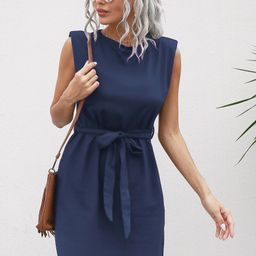 Solid Belted Tank Dress With Shoulder Pad   SHEIN