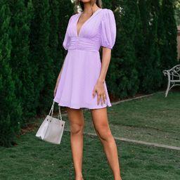 Double Crazy Puff Sleeve Ruched Waist Swiss Dot Dress   SHEIN