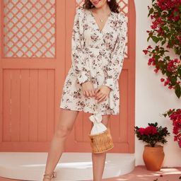Surplice Neck Floral Dress   SHEIN