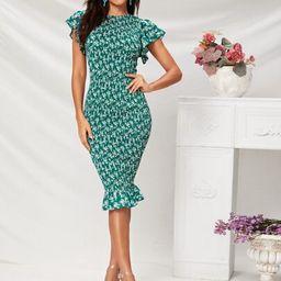 SHEIN Flutter Sleeve Ruffle Hem Shirred Ditsy Floral Dress   SHEIN