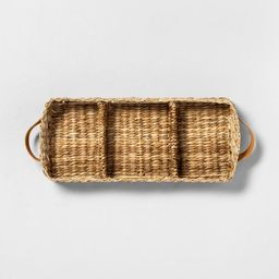 3 Compartment Woven Tank Tray with Leather Handles - Hearth & Hand™ with Magnolia | Target