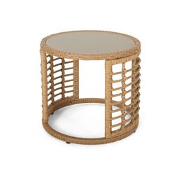 Noble House Caspian Indoor Modern Boho Wicker Side Table with Tempered Glass Top, Light Brown | Walmart (US)