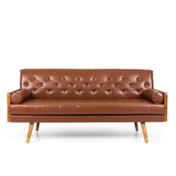 Noble House Marcel Mid-Century Modern Tufted Sofa with Rolled Accent Pillows, Cognac Brown, Dark ... | Walmart (US)