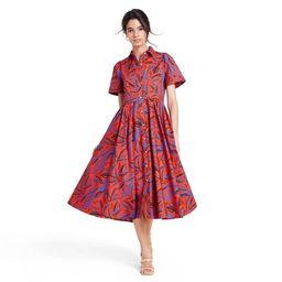 Tropical Leaf Short Sleeve Shirtdress - ALEXIS for Target Orange/Blue | Target