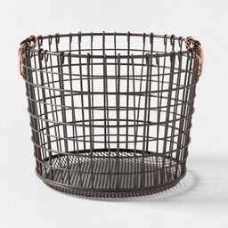 Wire Round Basket Copper Handle With Mesh Bottom Pewter - Threshold™ | Target