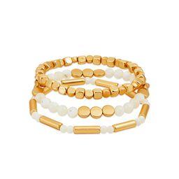 Scoop 14K Gold Flash-Plated Genuine Stone Bead Bracelet, 3-Piece Set | Walmart (US)