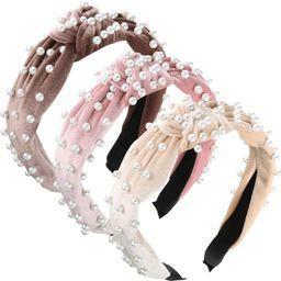3 Pieces Pearls Headband Wide Hair Hoop Velvet Pearls Headband Vintage Twisted Headwear for Girl ... | Amazon (US)