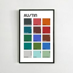 AUSTIN City Art 11x17 Poster / Pantone Color Minimalist Wall Art Print   Etsy (US)