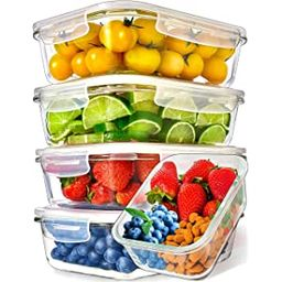 Prep Naturals Glass Meal Prep Containers (5 Pack, 36 Ounce) - Glass Food Storage Containers with ... | Amazon (US)