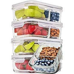 Prep Naturals Glass Meal Prep Containers Glass 2 Compartment 5 Pack - Glass Food Storage Containe... | Amazon (US)