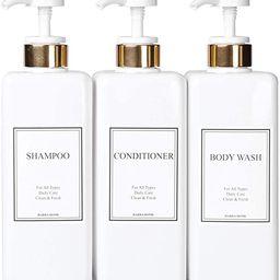 HARRA HOME Modern Gold Design Pump Bottle Set 27 oz Refillable Shampoo and Conditioner Dispenser ... | Amazon (US)