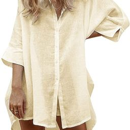 UNibelle Women Cotton Linen Shirts Casual Button Down Tunics Tops Beach Swimsuit Coverups   Amazon (US)