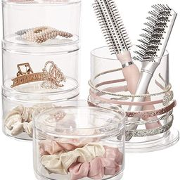 STORi Stackable Clear Plastic Hair Accessory Organizer Set with Hairbrush Holder and 4 Hair Acces... | Amazon (US)