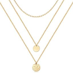 Forevereally Dainty Disc Chokers Necklace Layered Circle Necklace Bar Y Pendant Necklace 14K Real... | Amazon (US)