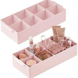 mDesign Compact Plastic Cosmetic Storage Organizer Caddy Tote Bin - 8 Divided Sections, Built-in ... | Amazon (US)